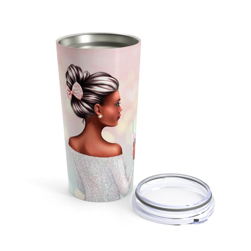 A Girl And Her Coffee Dark Skin Black Hair Tumbler 20oz Tumblers - Planner Press Designs