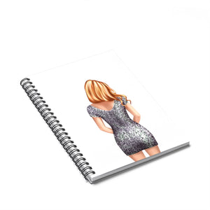 Glitter Girl Light Skin Red Hair Spiral Notebook - Ruled Line