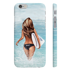 Surfer Girl Medium Skin Brown Hair iPhone Case - Protective Phone Cover