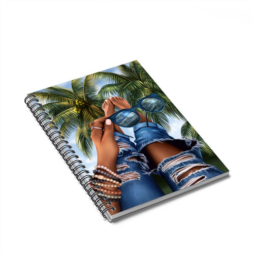 Tropical Day Dreams Dark Skin Spiral Notebook - Ruled Line
