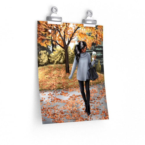 Hello Fall Dark Skin Black Hair Premium Matte Poster