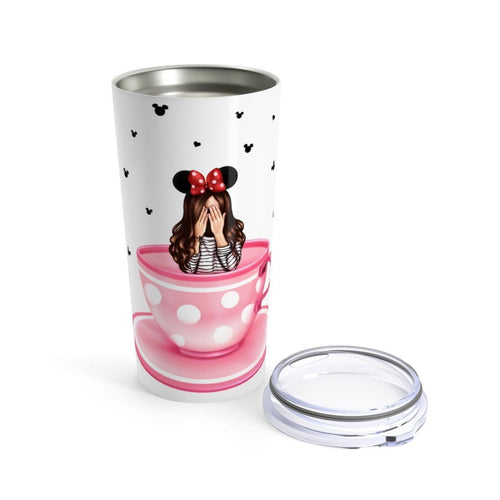 Dizzy Tea Cup Brown Hair Tumbler - Planner Press Designs