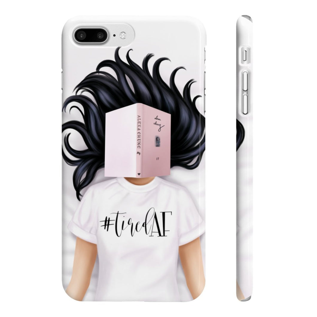 Tired AF Light Skin Black Hair iPhone Case - Protective Phone Cover