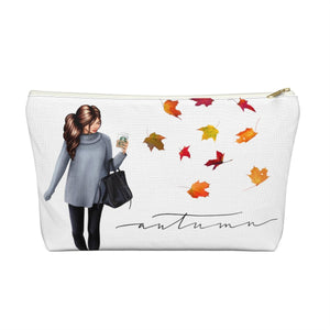 Autumn Fashion Girl Light Skin Brown Hair Accessory Pouch with T-bottom - Pencil Case - Planner Press Designs