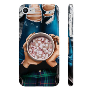 Peppermint Hot Chocolate Black Hair Light Skin iPhone Case - Protective Phone Cover