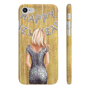 Happy New Year Light Skin Blonde Hair iPhone Case - Protective Phone Cover - Planner Press Designs