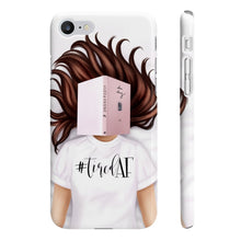 Load image into Gallery viewer, Tired AF Light Skin Brown Hair iPhone Case - Protective Phone Cover