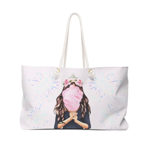 Cotton Candy Dreams Light Skin Brown Hair Weekender Bag Tote - Weekend Tote Bag - Planner Press Designs
