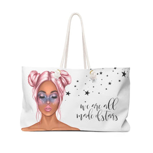 Galaxy Girl Weekender Bag Tote-Medium Skin Pink Hair - Weekend Tote Bag - Planner Press Designs