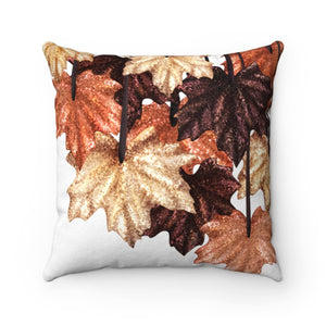 Pillow - Glittering Leaves Faux Suede Square Pillow