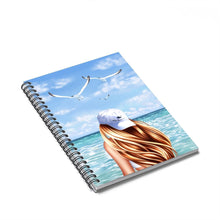 Load image into Gallery viewer, Beachy Vibes Light Skin Red Hair Spiral Notebook - Ruled Line - Planner Press Designs