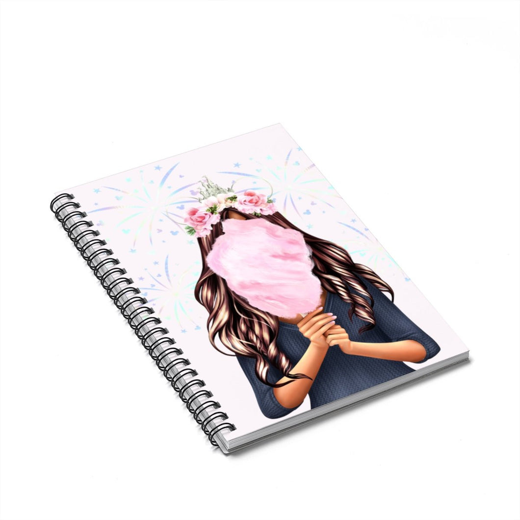 Cotton Candy Dreams Medium Skin Brown Hair Spiral Notebook - Ruled Line