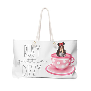 Spinning Tea Cup-Fair Skin Brown Hair Weekender Bag Tote - Weekend Tote Bag - Planner Press Designs