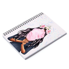 Load image into Gallery viewer, Cotton Candy Dreams Dark Skin Black Hair Spiral Notebook - Ruled Line
