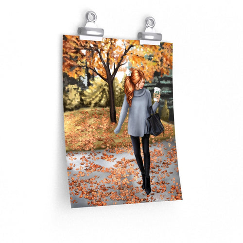 Hello Fall Light Skin Red Hair Premium Matte Poster