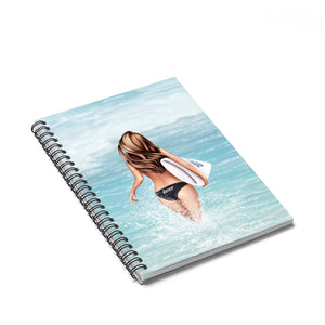 Surfer Girl Light Skin Brown Hair Spiral Notebook - Ruled Line