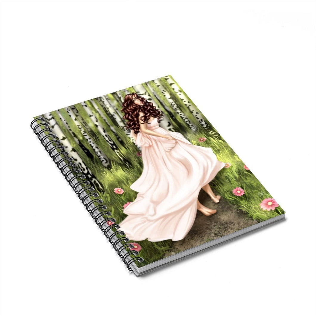 Forest Fiarytale Light Skin Brown Hair Spiral Notebook - Ruled Line - Planner Press Designs