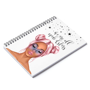 Galaxy Girl Medium Skin Pink Hair Spiral Notebook - Ruled Line - Planner Press Designs