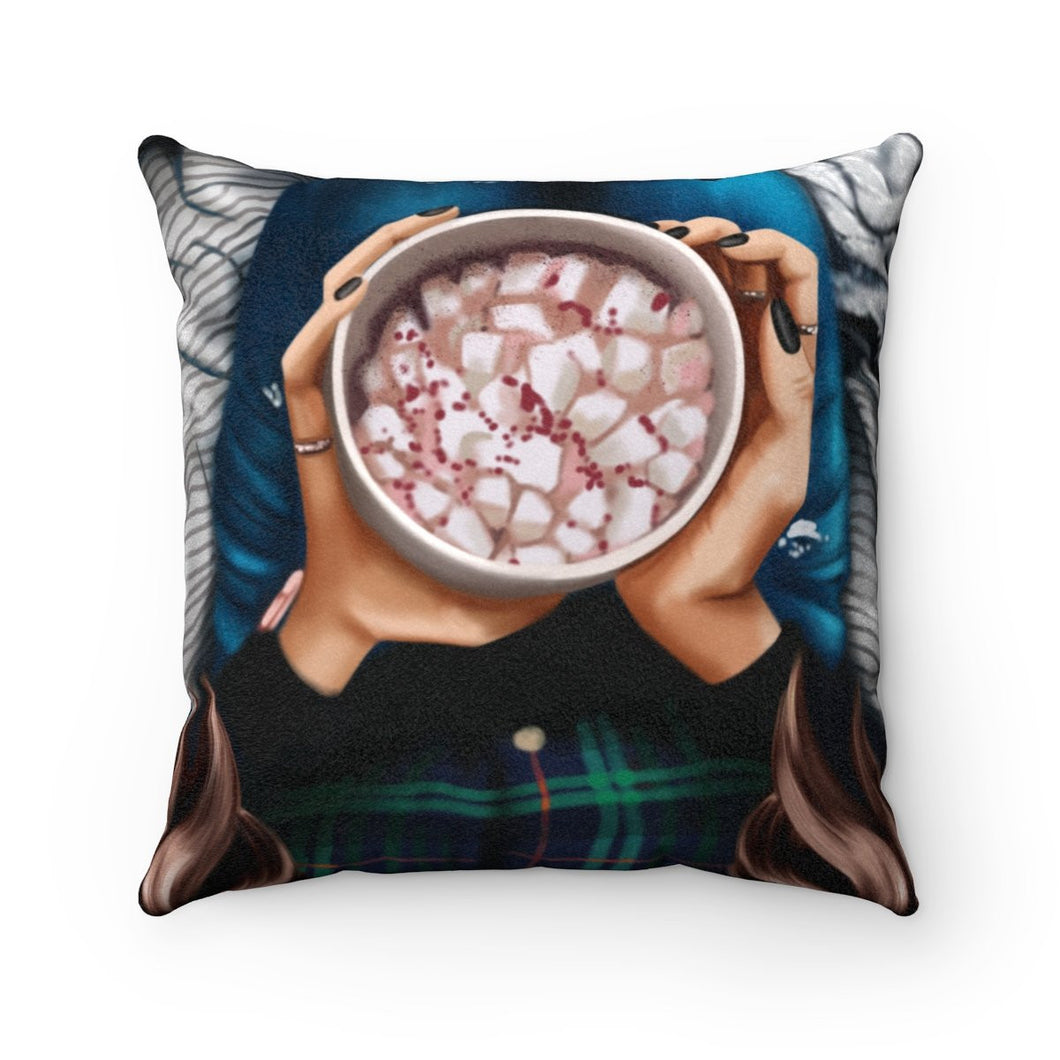 Pillow - Peppermint Hot Cocoa Light Skin Brown Hair Faux Suede Square Pillow
