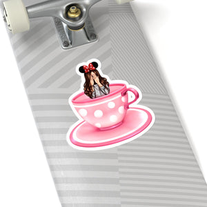 Teacup Girl Light Skin Brown Hair Vinyl Sticker Decal