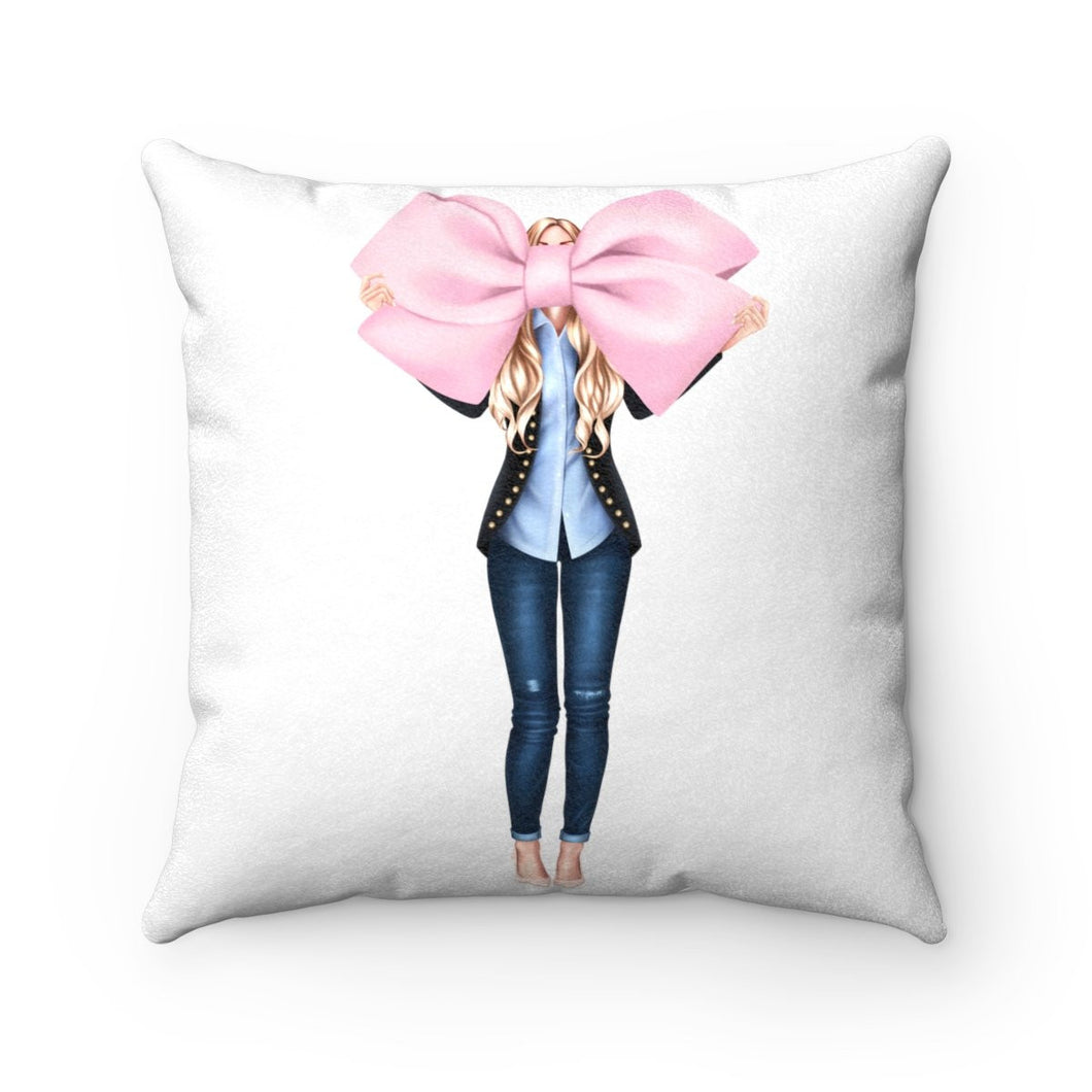 Pillow - I Like Big Bows Light Skin Blonde Hair Faux Suede Square Pillow