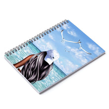 Load image into Gallery viewer, Beachy Vibes Dark  Skin Black Hair Spiral Notebook - Ruled Line - Planner Press Designs
