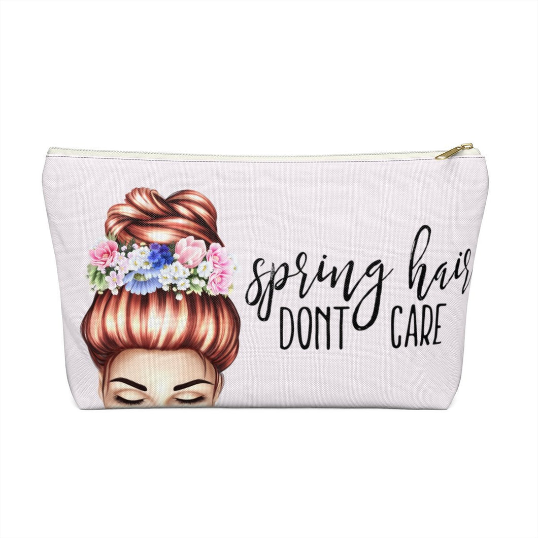 Spring Hair Dont Care Light  Skin Red Hair Accessory Pouch with T-bottom - Pencil Case