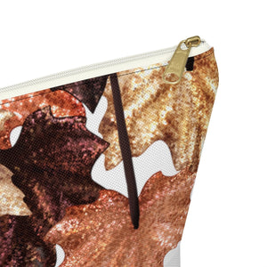 Autumn Glitter Leaves Accessory Pouch with T-bottom - Pencil Case - Planner Press Designs
