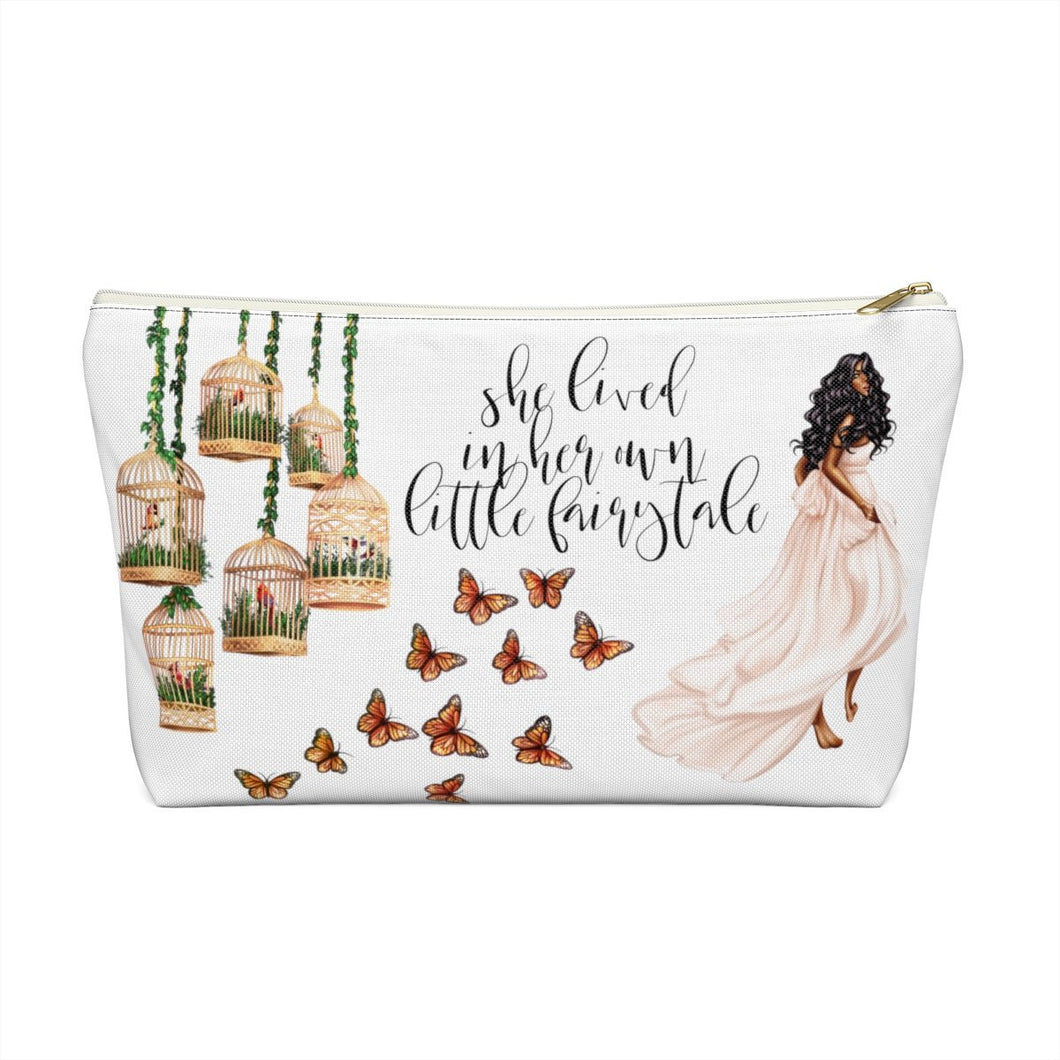 Fairytale Dark Skin Black Hair Accessory Pouch with T-bottom - Pencil Case