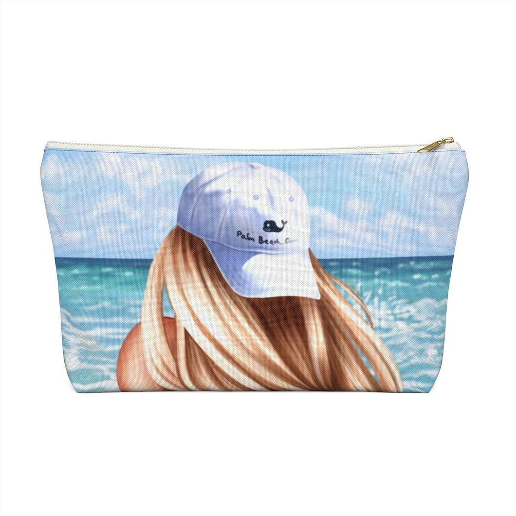 Beach Girl Light Skin Blonde Hair Accessory Pouch with T-bottom - Pencil Case - Planner Press Designs