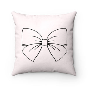 Pillowcase - Pink Chic Bow Faux Suede Square Pillow
