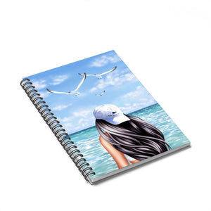 Beachy Vibes Light Skin Black Hair Spiral Notebook - Ruled Line - Planner Press Designs
