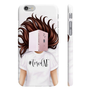 Tired AF Light Skin Brown Hair iPhone Case - Protective Phone Cover