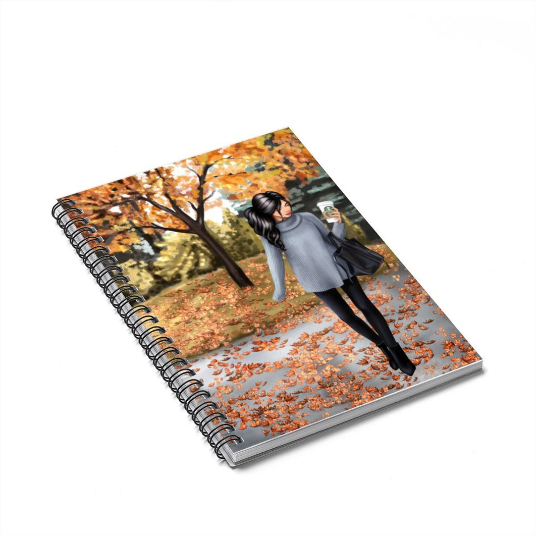 Walk in the Park Light Skin Black Hair Spiral Notebook - Ruled Line