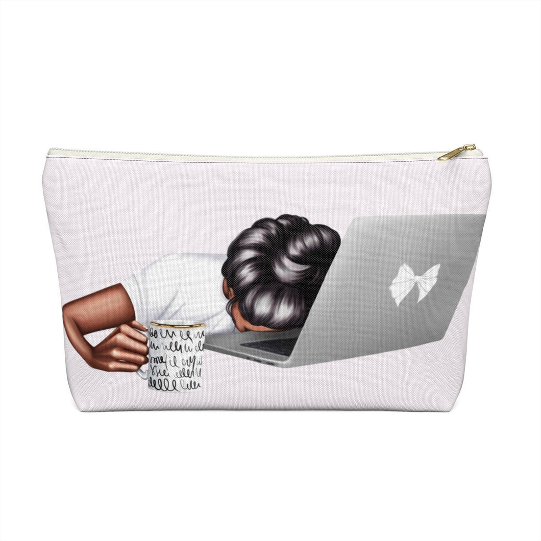 Tired Mondays Dark Skin Black Hair Accessory Pouch with T-bottom - Pencil Case