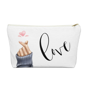 Korean Heart Love Accessory Pouch with T-bottom - Pencil Case