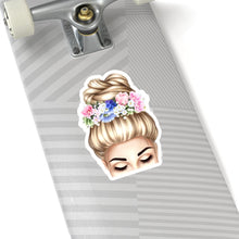 Load image into Gallery viewer, Spring Top Bun Girl Light Skin Blonde Hair Vinyl Sticker Decal