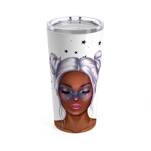 Galaxy Girl Coffee Tumbler 20oz Dark Skin Purple Hair - Planner Press Designs