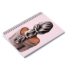 Load image into Gallery viewer, Bows In Her Hair Dark Skin Black Hair Spiral Notebook - Ruled Line - Planner Press Designs