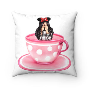 Pillow - Busy Gettin Dizzy Disney Light Skin Black Hair Faux Suede Square Pillow