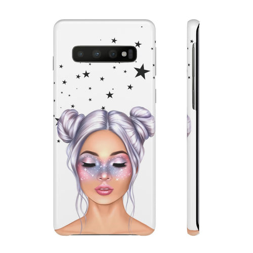 Galaxy Girl Light Skin Purple Hair Samsung S10's Snap Cases