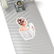 Load image into Gallery viewer, A Girl And Her Coffee Light Skin Brown Hair Vinyl Sticker Decal - Planner Press Designs