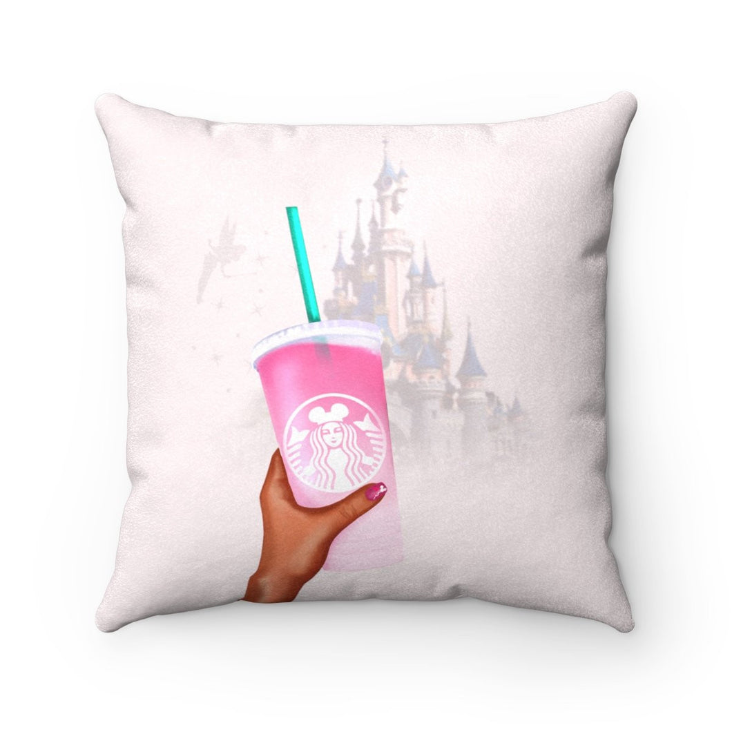 Pillow - Starbucks and the Castle Faux Suede Square Pillow