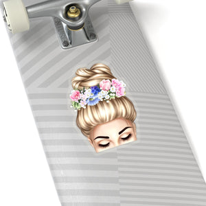 Spring Top Bun Girl Light Skin Blonde Hair Vinyl Sticker Decal