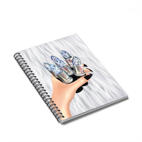 Galaxy Lipstick Crystal Light Skin Spiral Notebook - Ruled Line