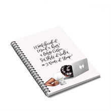 Load image into Gallery viewer, Mondays Dark Skin Black Hair Spiral Notebook - Ruled Line