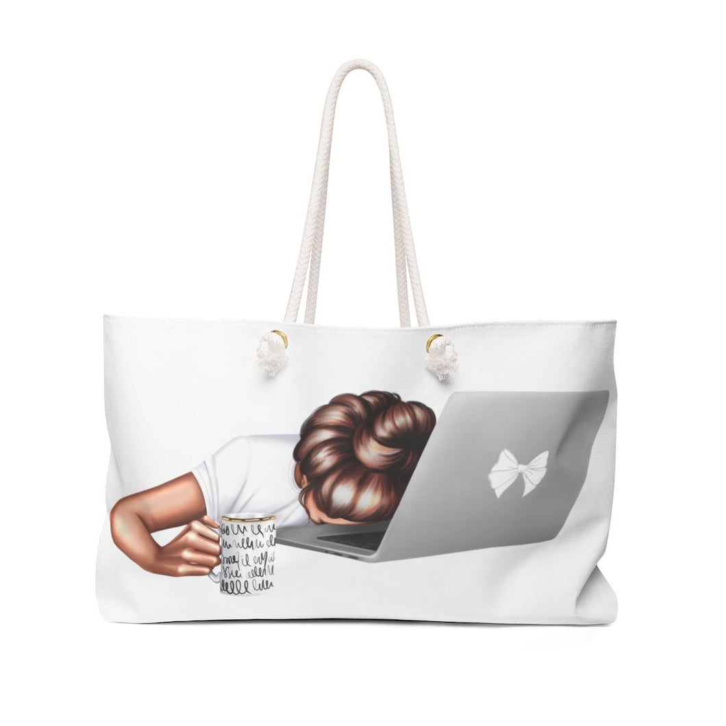 I'm Tired Weekender Bag - Medium Skin Brown Hair - Weekend Tote Bag
