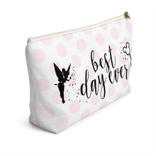 Load image into Gallery viewer, Polka Dot Best Day Ever Accessory Pouch with T-bottom - Pencil Case