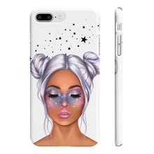 Load image into Gallery viewer, Galaxy Girl Medium Skin Purple Hair iPhone Case - Protective Phone Cover - Planner Press Designs