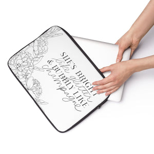 She's Bright Like Glitter - Bubbly Like Champagne Laptop Sleeve - Planner Press Designs